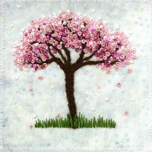 Blossom Tree 9 French knots and beads make the blossoms. The background fabric is called snow.