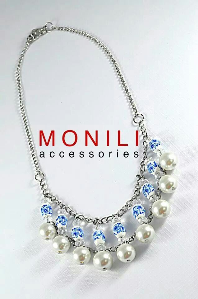 White Pearls and Ceramic Beads Statement Necklace by MONILI