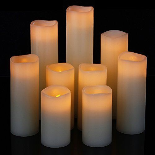 LED Flameless Candles Set of 9 Flickering Pillar Wax Candle with Remote Timer #Comenzar