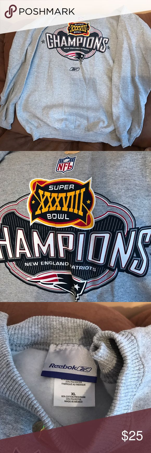 PATRIOTS Crew Sweatshirt Size XL PATRIOTS Super Bowl XXXVIII winning Crew Sweatshirt Size XL perfect condition, never worn, bought as a collectors piece Reebok Shirts Sweatshirts & Hoodies