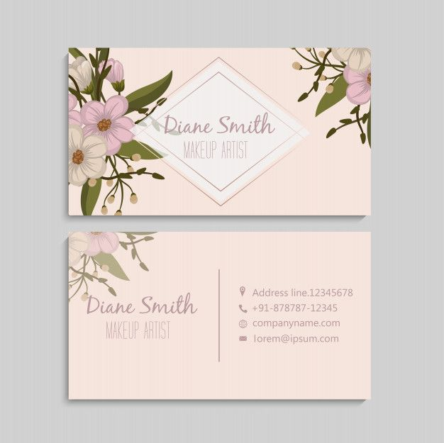 Business Card With Beautiful Flowers Template Flower Shop Design Cards Beautiful Flowers