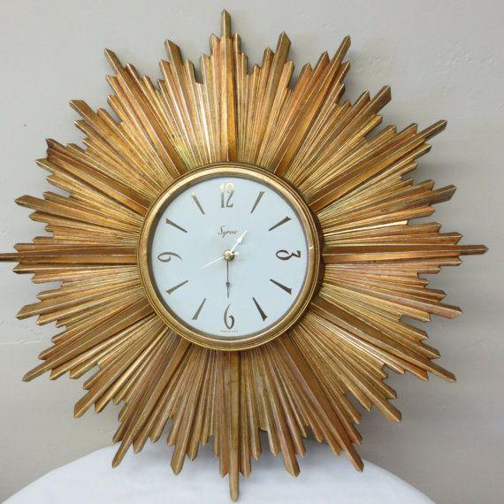 Mid Century Syracuse Ornamental Gold Sun Burst Wall Clock