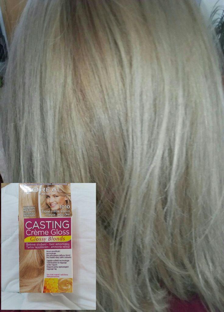 Resultado tinte 1010 Loreal casting. Este tinte ya no esta disponible en tiendas en España. Se ñuede comprar en la pagina web de cosmetica fapex.es. Deja el pelo suave y un color precioso rubio con toques cenizas. Es idoneo para olvidarte del pelo pollo amarillo.