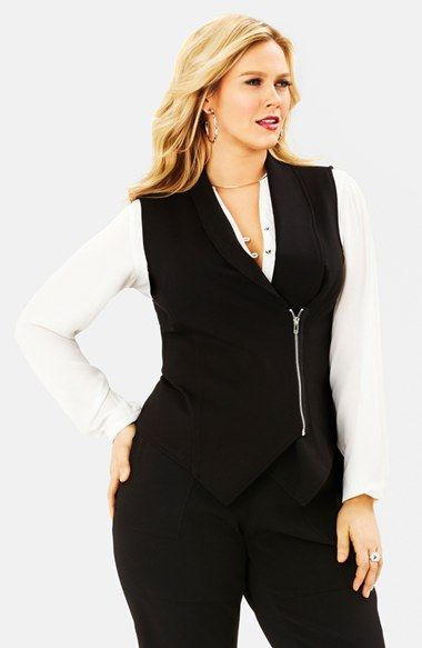 Plus Size Women's Mynt 1792 Faux Leather Trim Asymmetrical Zip Vest
