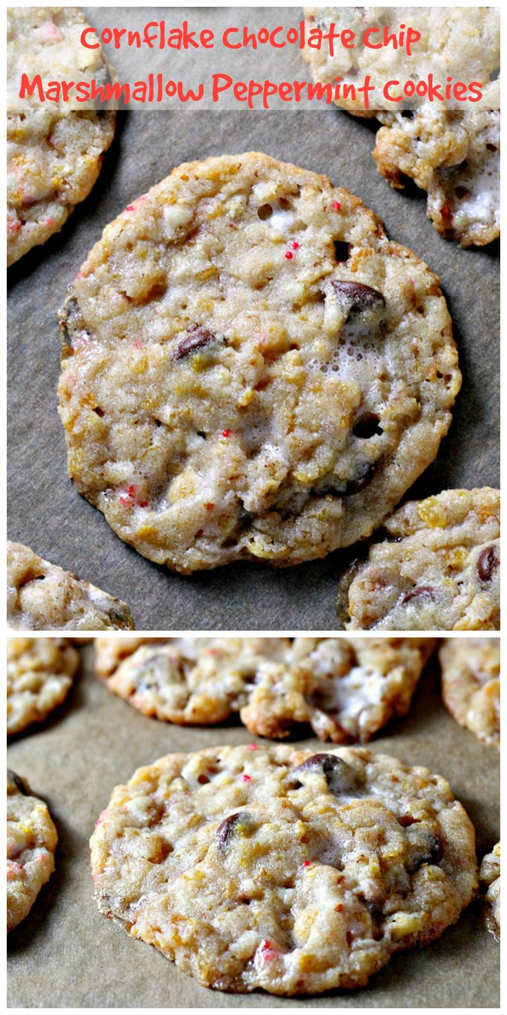 cornflake chocolate chip marshmallow peppermint cookies