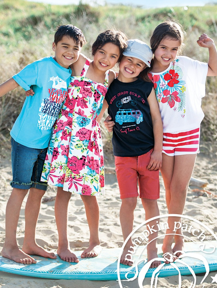 catching a wave & having fun on the beach.   Pumpkin Patch Summer 2012 kidswear fashion collection.