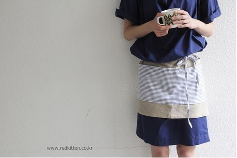 Korea womens apparel shopping mall [REDKITTEN]    Linen color work apron - handmade / Price : 0.21USD  #woman-fashion #casual #ootd #basic #acc #accessory #apron #REDKITTEN #handmade