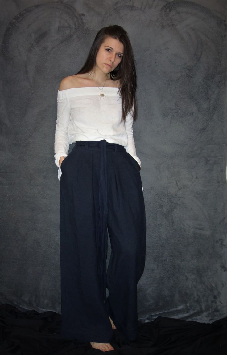 Navy Blue Linen Trousers, Wide Pants, Handmade Pants, Natural Fabric, Woman Fashion, Casual Clothing, Sustainable fashion, Elegant Pants by LinenTheOldWays on Etsy