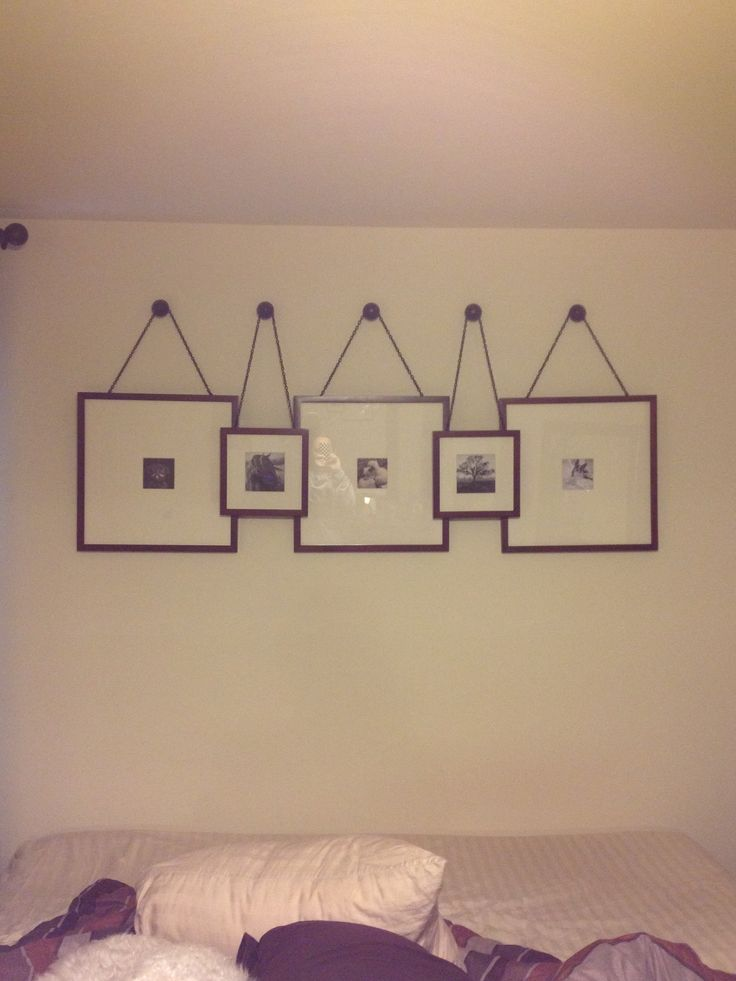 Picture collage over the bed. Wall groupings, framing ...