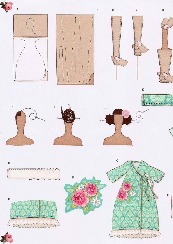 ARTESANATO COM QUIANE - Paps,Moldes,E.V.A,Feltro,Costuras,Fofuchas 3D: Esquema de montagem das bonecas tipo Tilda