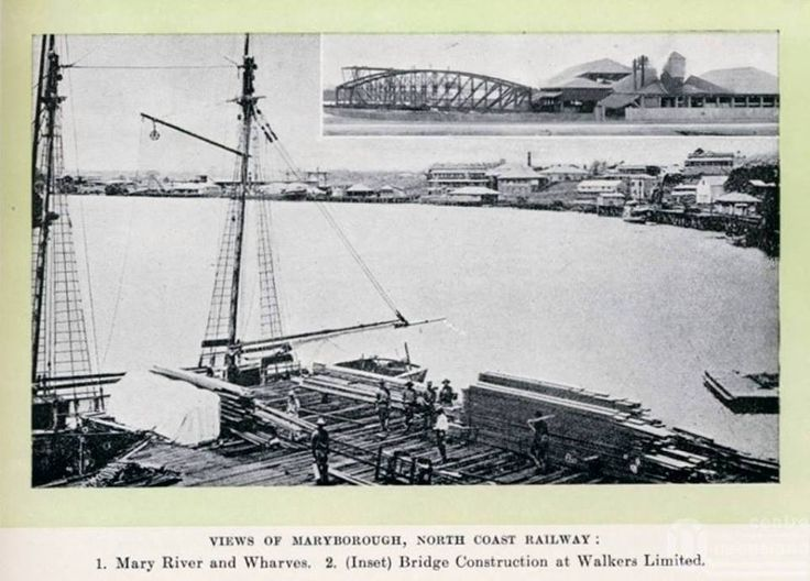 Glimpses of Sunny Qld (edition 2). Views of Maryborough. Mary River Wharves and Bridge Construction at Walkers Ltd 1912