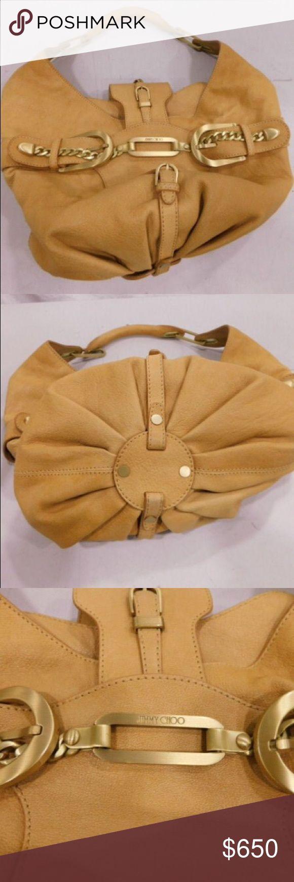 Jimmy Choo Tan Leather Hobo Shoulder Bag Jimmy Choo tan leather hobo shoulder bag. Authentic.    Dimensions: 11.5'' 9'' 12  EUC Very clean.  Free shipping. Jimmy Choo Bags Shoulder Bags