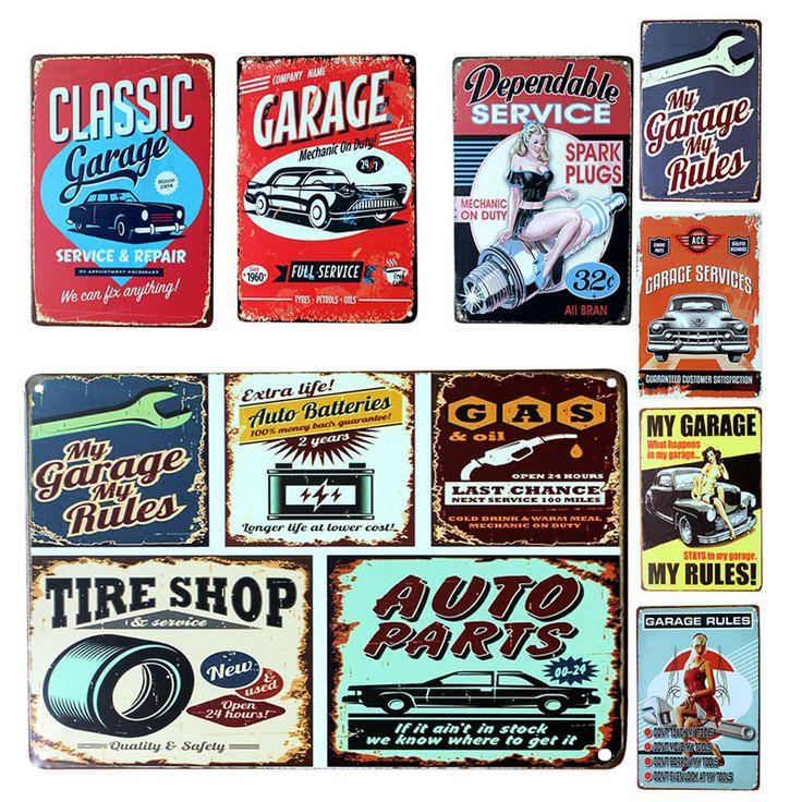 7 Styles Vintage Metal Tin Sign Car Repair Shop Garage Retro Plaque Poster Bar Pub Club Wall Tavern Garage Home Decoration