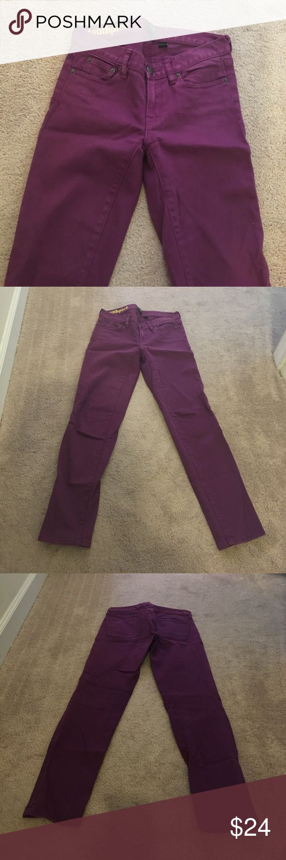 "Purple toothpick J Crew jeans Purple skinny jeans from J Crew toothpick line. 28"" inseam. Worn only a few times in great condition. J. Crew Jeans Skinny"