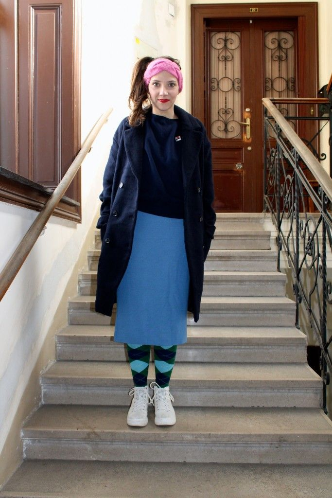Outfit: Burlington Socks, Vagabond shoes, Vintage Skirt, Envii Coat, Fila Jumper