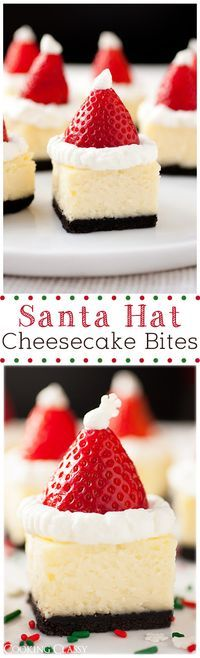 Santa Hat Cheesecake Bites - these are so delicious and so fun!