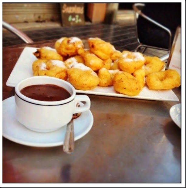 Buñuelos de Calabaza and hot chocolate. A traditional fried dough from Valencia, Spain