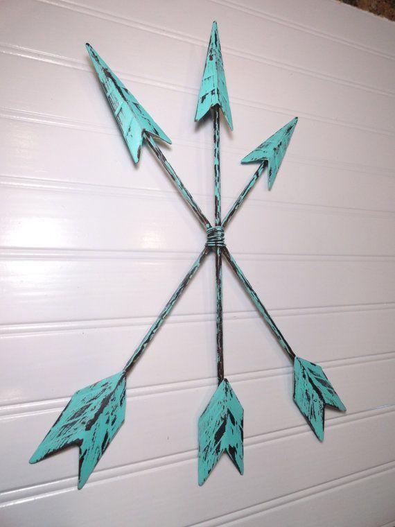 Arrow Wall Art, Metal Arrow Wall Decor Hanging, Aqua Patina Arrow Home Decor, Tribal Native American Wall Decor