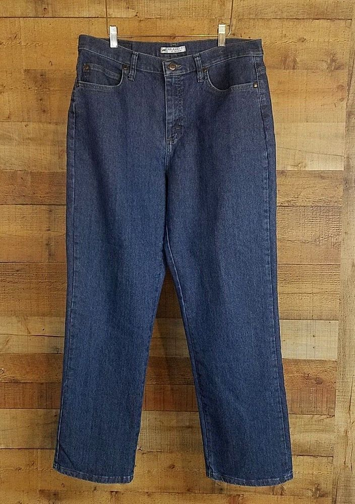 892b92cd Lee Womens Relaxed Fit Straight Leg Jeans Size 14 M Dark Wash High Waist  NWOT #Lee