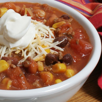 I've made this twice in the last 2 weeks.. if anyone wants to try it. Best topped with shredded cheddar cheese & fritos. ;)  (P.S. - I use pinto beans, and black beans instead of the kidney)