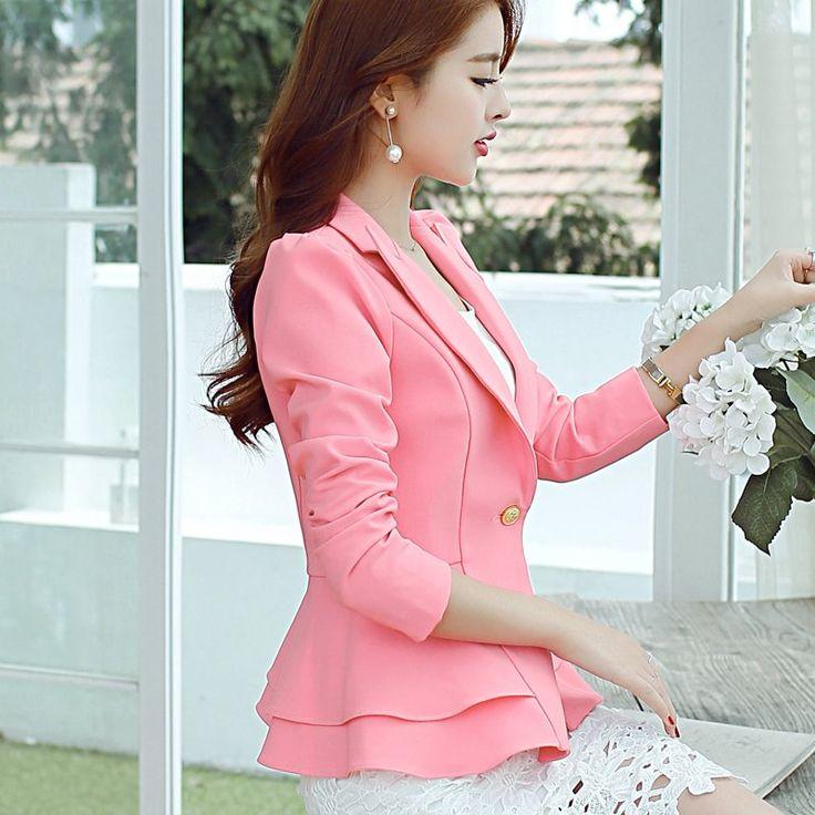 Peonfly Ladies 2016 Single Button Women Suit Jacket - Black,blazer,jackets,L,Lake blue,M,navy blue,pink colour,plus size,RoyalBlue,S,sky blue,suit,variable,XL,XXL,Apparels & Clothing,Suits & Sets,Tops & Sets