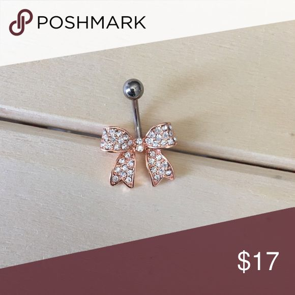 Rose Gold Bow Belly Button Ring Brand New! 14 Gauge Surgical Steel. Absolutely no trades. Check out my all my items! Reasonable offers accepted! Bundle items for one shipping cost & a discount!  Thanks for looking ☺️ If you have any questions leave a comment below   Belly Button Ring Navel Piercing 14G Surgical Steel Body Jewelry New Jewelry Rings
