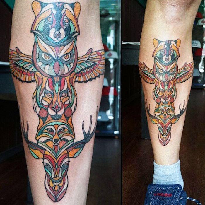 tattoo motive männer, tätowierung mit indianischen totems, fuchs, eule und hirsch