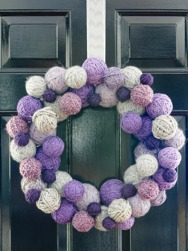 Warm, Wintry Wreath in How to Make a Tone-on-Tone Yarn Ball Wreath from HGTV