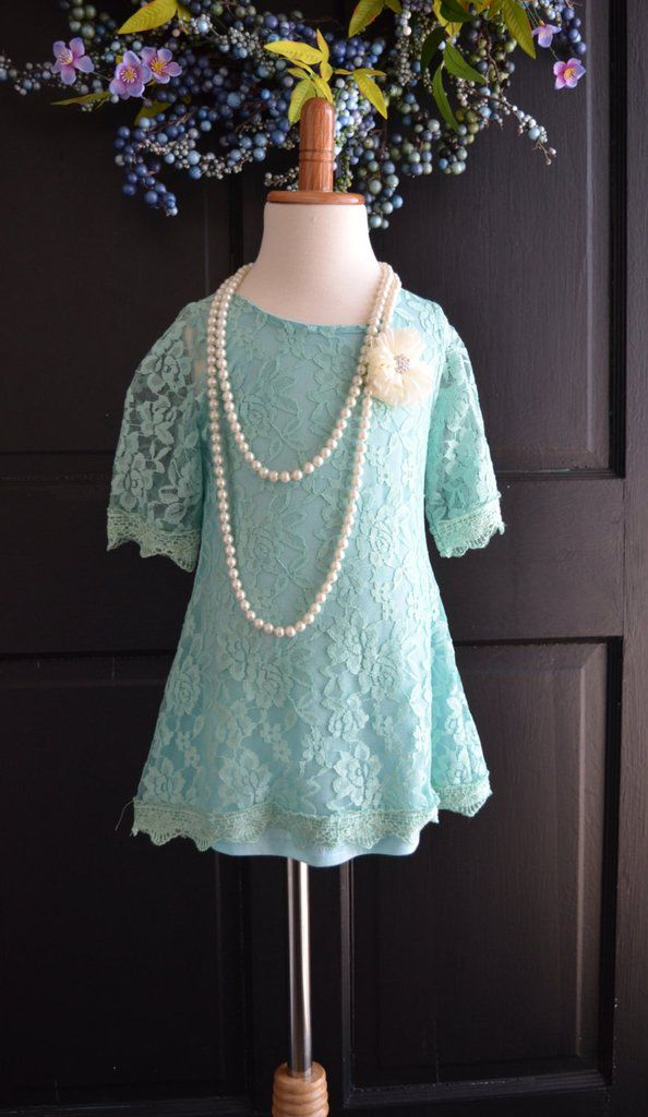 Aqua Turquoise Lace Flower Girl Dress