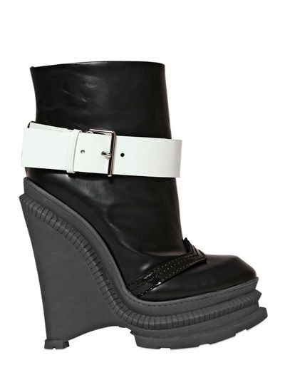$1,115, Black and White Leather Wedge Ankle Boots: Kenzo 150mm Brushed Leather Wedged Ankle Boots. Sold by LUISAVIAROMA. Click for more info: http://lookastic.com/women/shop_items/123728/redirect