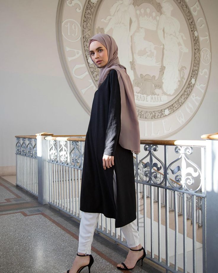 islamic-fashion-inayah: - An everyday signature style, with a fresh take on contemporary and classic designs. Asymmetric Midi With Slits White Tapered Trousers Pair with Light Flint Crepe Hijab wwww.inayahcollection.com