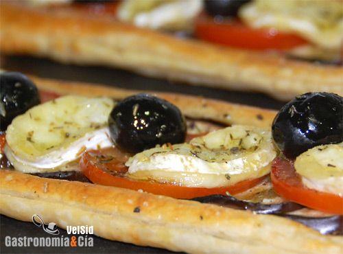 Receta de Hojaldre de berenjena, tomate y queso de cabra