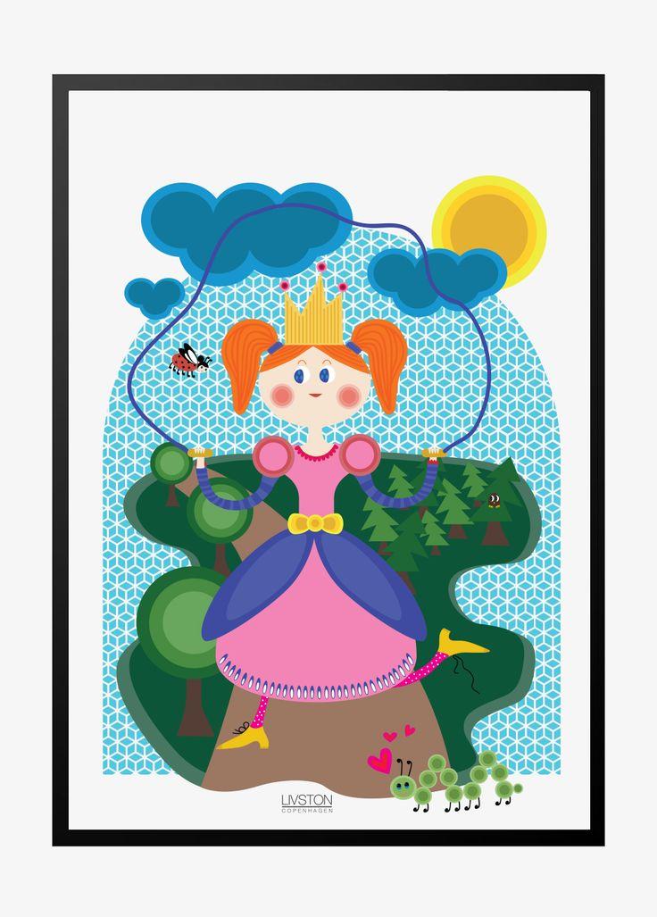 Prinsesseplakat | sjippe  vacker prinsessa affisch flicka rum