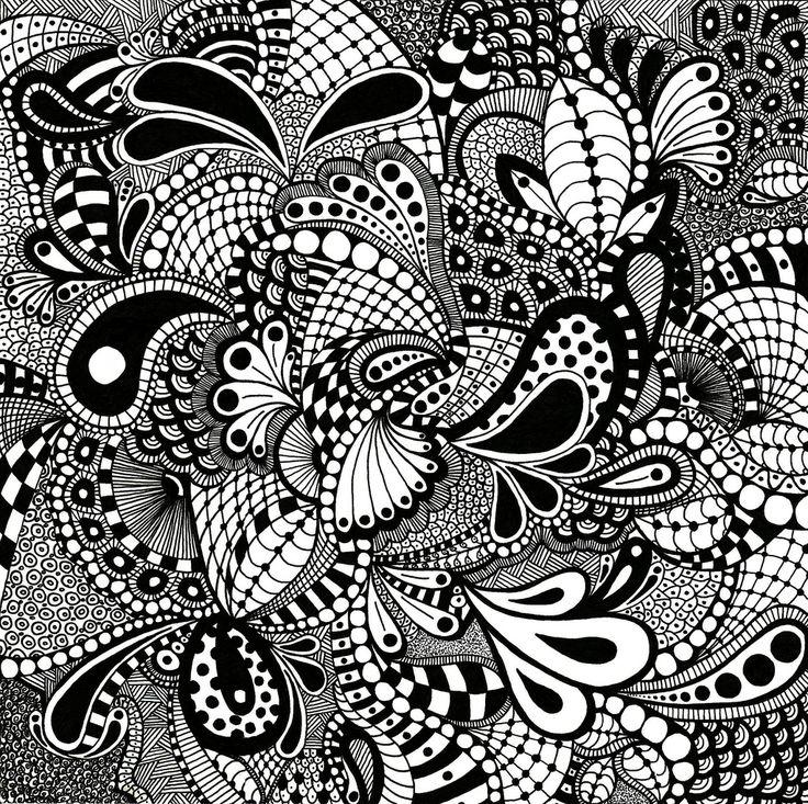 "zentangle   zentangle drawn on 10"" x 10"" bristol board - 3 or 3"