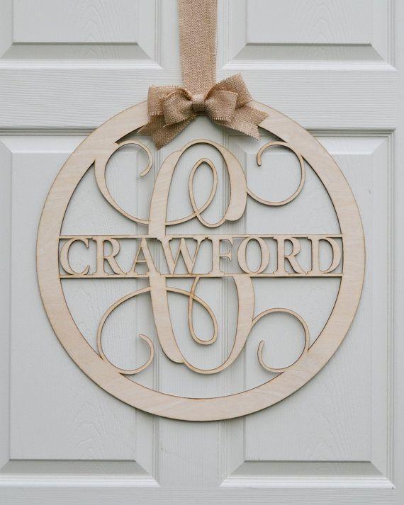 "24"" Wooden Monogram - Unpainted Vine Script Monogram - Family Name - Wedding Monogram - Wreath - Door Hanging - Wall Decor - Wall Monogram"