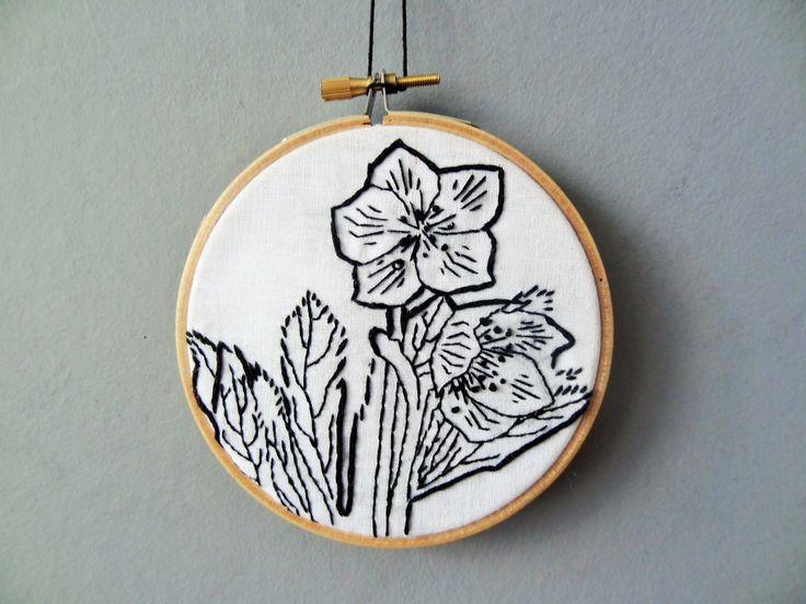Hellebore Flower embroidery Hoop for sale