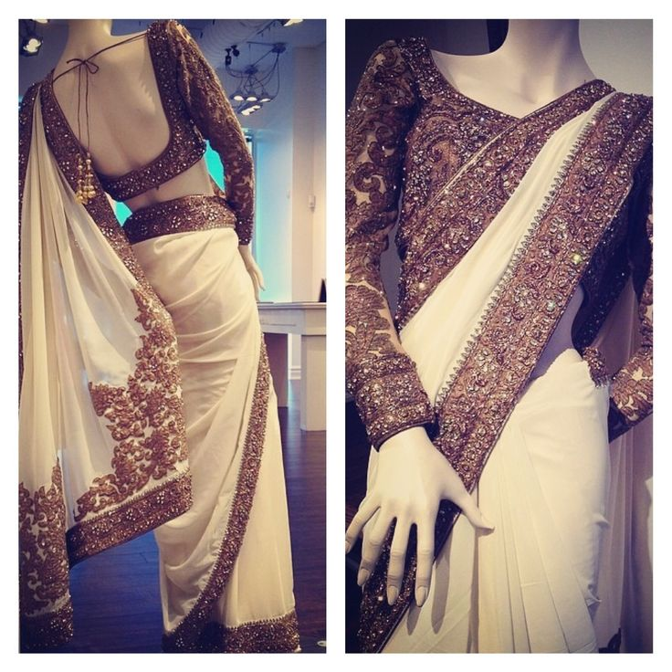 White saree with antique gold work