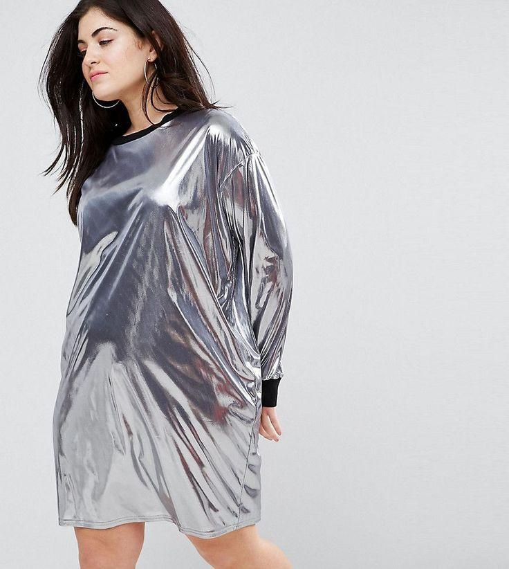 ASOS CURVE Metallic Mini Dress With Rib Trim - Silver