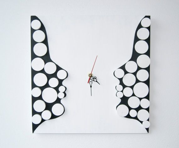 Deco Twins / Wood wall clock / Geometric mosaic / by DecoBoxRo, $109.00