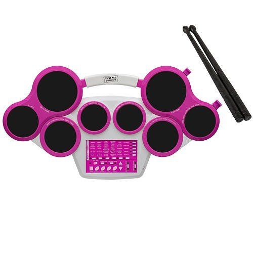 First Act Discovery Electronic Drum Pad - Pink by First Act 1001245. $37.54. Recommended Age: 7 years and up. Play it pink! With First Act Discovery's deluxe digital drum set, players can choose from 2 playing modes, classic and electronic, plus 30 rhythm patterns, from rap to rock to jazz. Also includes multiple sound effects and individual volume and tempo controls. MP3 input jack lets you plug in your mp3 player and jam along with your favorite tunes. Includes pair of drumstic...