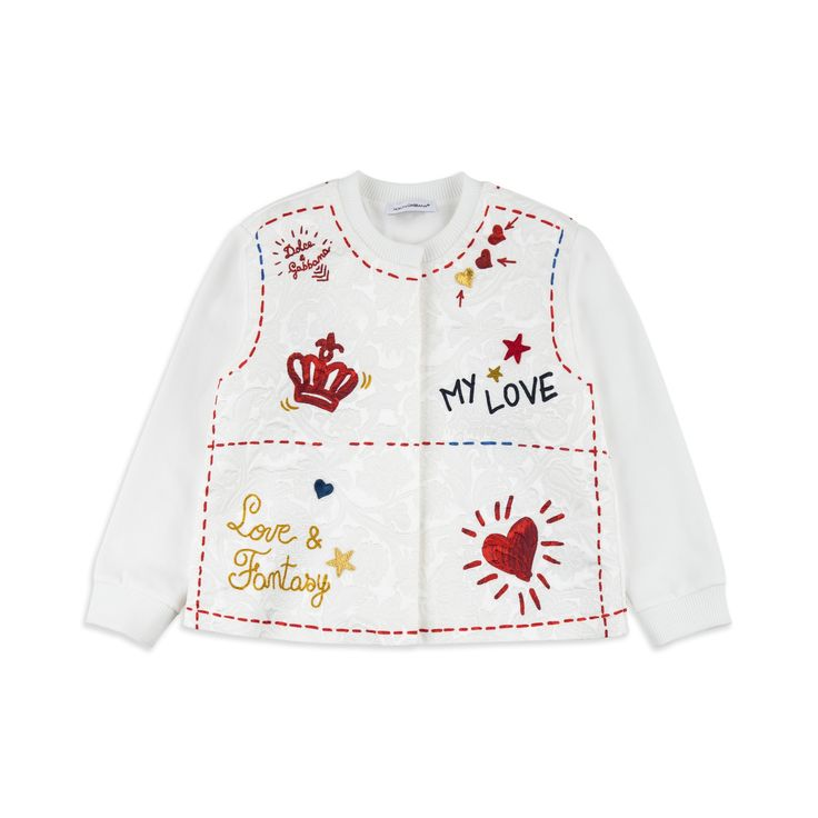 DOLCE & GABBANA Baby Girls 'Amore e Fantasia' Sweat Jacket - White Baby sweat jacket • Soft cotton blend • Pop button fastening • Round neckline • Ribbed collar and cuffs • Embroidered stars and hearts • Made in Italy • Material: 64% Viscose, 36% Cotton