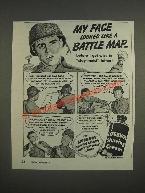 1944 Lifebuoy Shaving Cream Ad - My face looked like a battle map