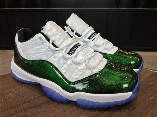 523d08872f1b 2018 Nike Air Jordan 11 Low Emerald Easter White Emerald Rise Black on  www.jordan12low.com
