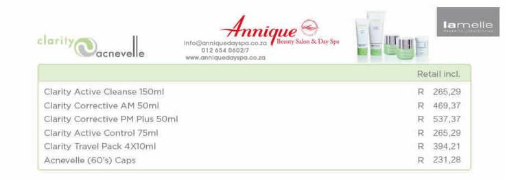 Lamelle Clarity & Acnevelle Range Get your Lamelle products at Annique Day Spa  info@anniquedayspa.co.za 012 654 0602/7 www.anniquedayspa.co.za