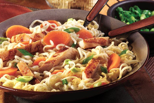 Ramen noodle soup mix adds instant Asian-style appeal to this 15-minute chicken and noodles dish.