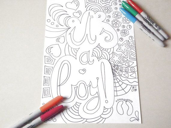 it's a boy coloring card newborn mom mother by LaSoffittaDiSte