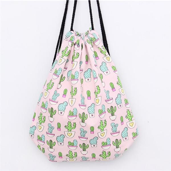 Cute canvas backpack with cactus print. This is a nice size bag measuring 30 by 40 cm. Size:34*40cm Interior:Interior Slot Pocket Strap Type:Retractable Lining
