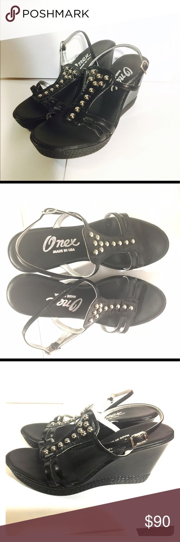 Onex Strappy Black Wedges Size 7 Worn ONE time!! These wedges are extremely comfortable ❤️ Onex brand Size 7 ❤️ NO scuffing on any part of these shoes, black in color with silver studded decoration, would look beautiful in any outfit 💕😍 Onex Shoes Wedges