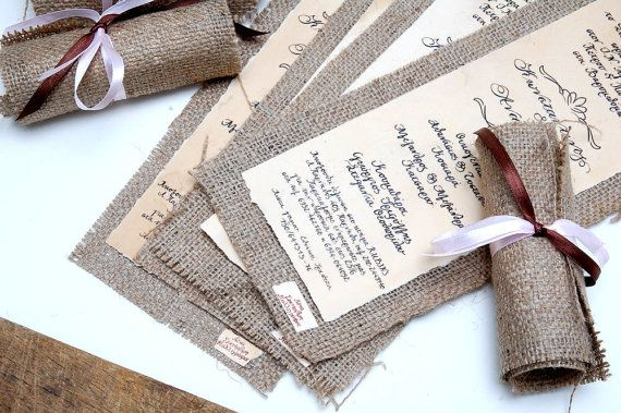 Wedding Invitations Vintage - Burlap Invitations - Rolling Invitations - Calligraphy- Made to order