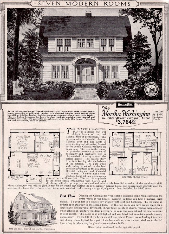 Martha Washington Dutch Colonial Revival - Kit House Plan - 1923 Sears Home - Honor Built